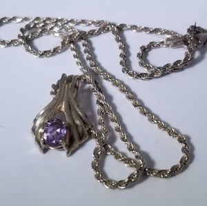 Vintage amethyst pendant and chain
